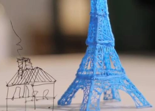 3D printers can produce tangible objects, such as an Eiffel Tower, in plastic.
