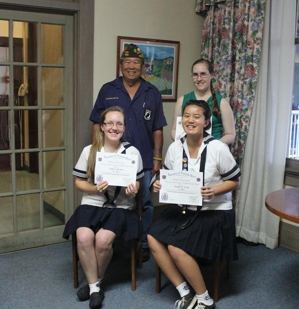 ka leo seniors win in voice of democracy contest seniors nadia busekrus and danielle ho display their certificates after winning second and first place in