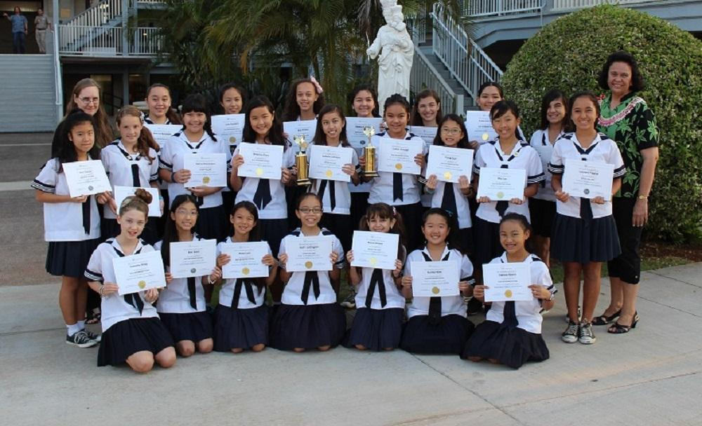 Middle school speech participants triumphed at the Sacred Hearts Festival in January, again earning trophies for the highest number of superiors and largest percentage of superiors.