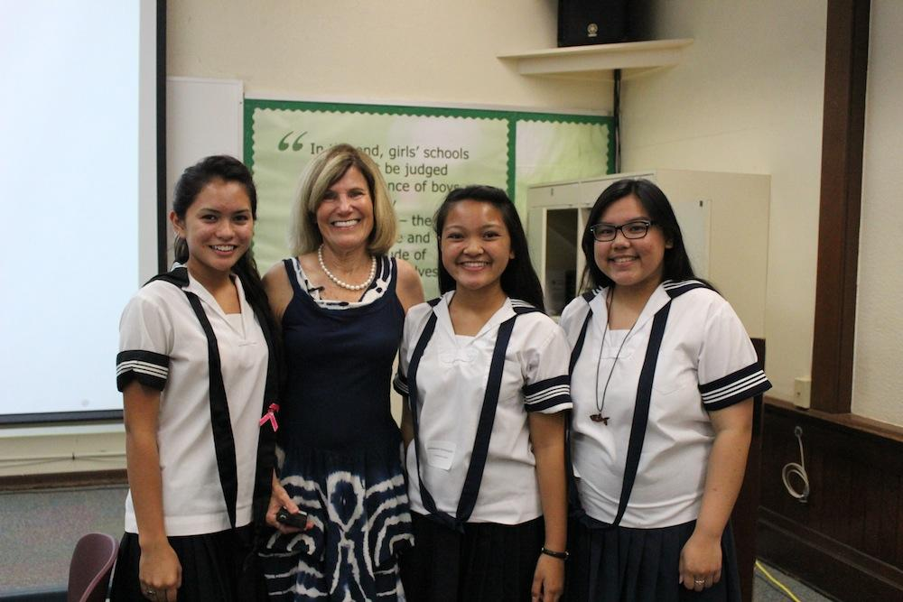 Veteran journalist Denby Fawcett spoke to Academy student leaders about her trek up Mount Everest, emphasizing determination and perseverance.