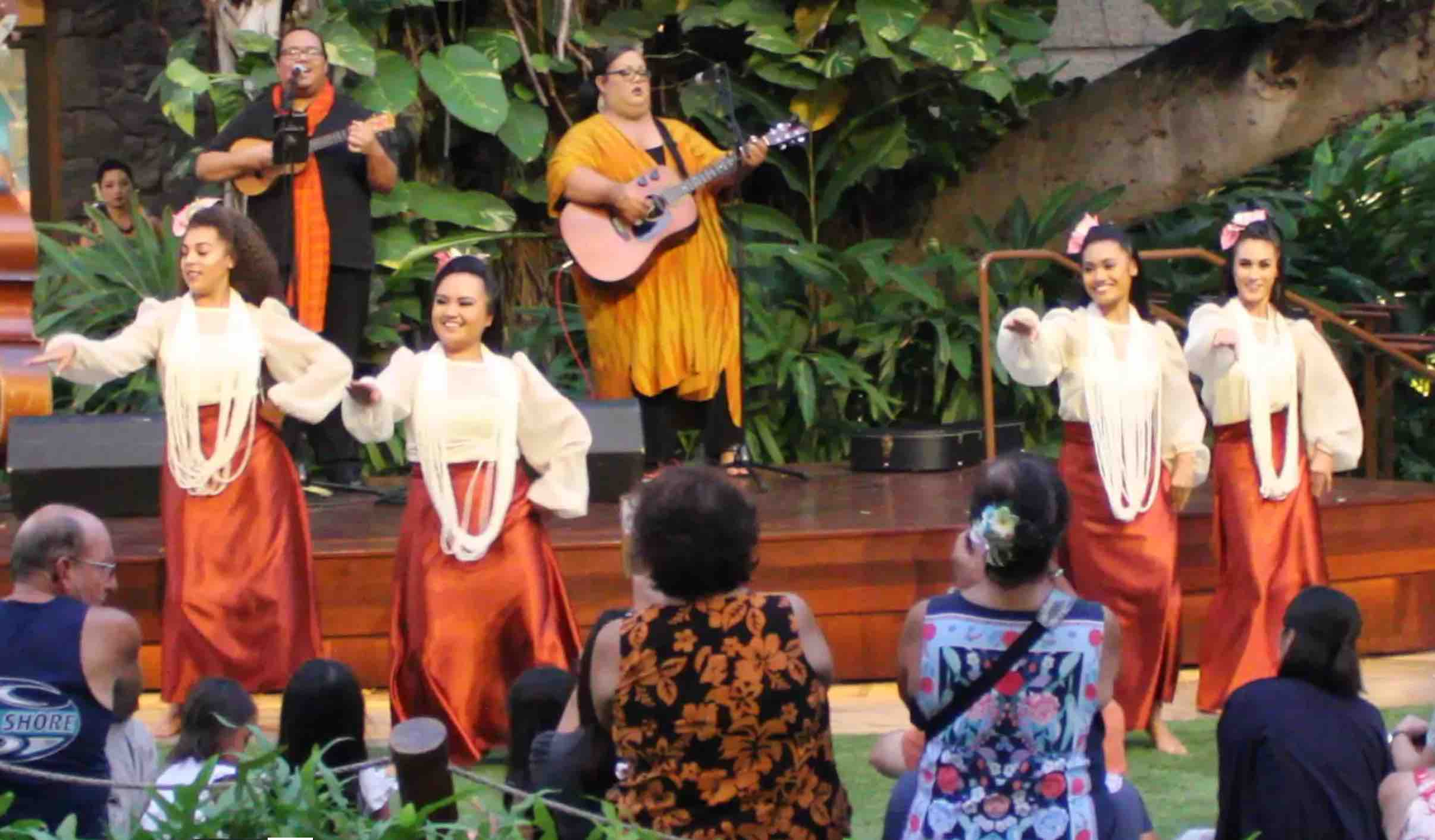 Sacred Hearts Academy's hula students perform at the Royal Hawaiian Center in Waikiki.