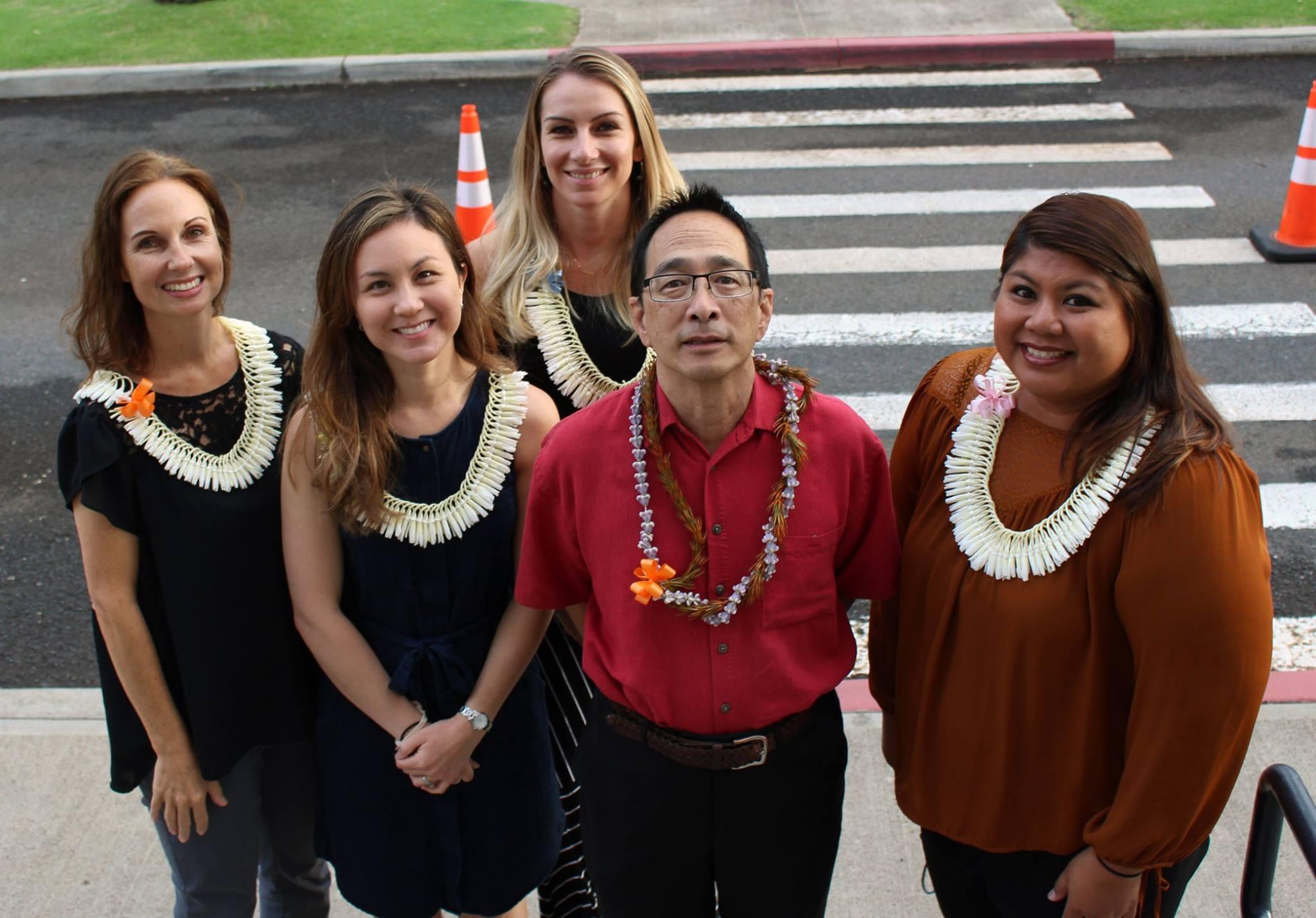 Counselors at Sacred Hearts Academy celebrate National School Counseling Week. (Left to right) Fiona Hayashi, Marcia Chaddock, Angela Dolan, Randy Fong and Anna Miyashiro.