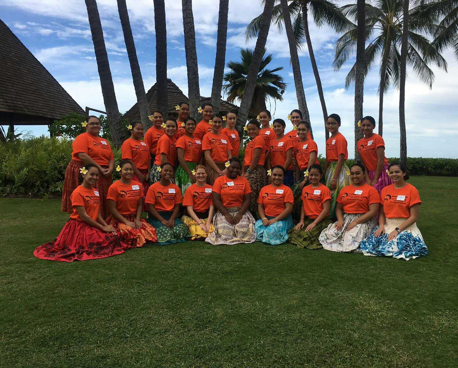 The Academy's Hawaiian Chant and Dance students after a long day at the Lei O Lanikuhonua Hula Festival.