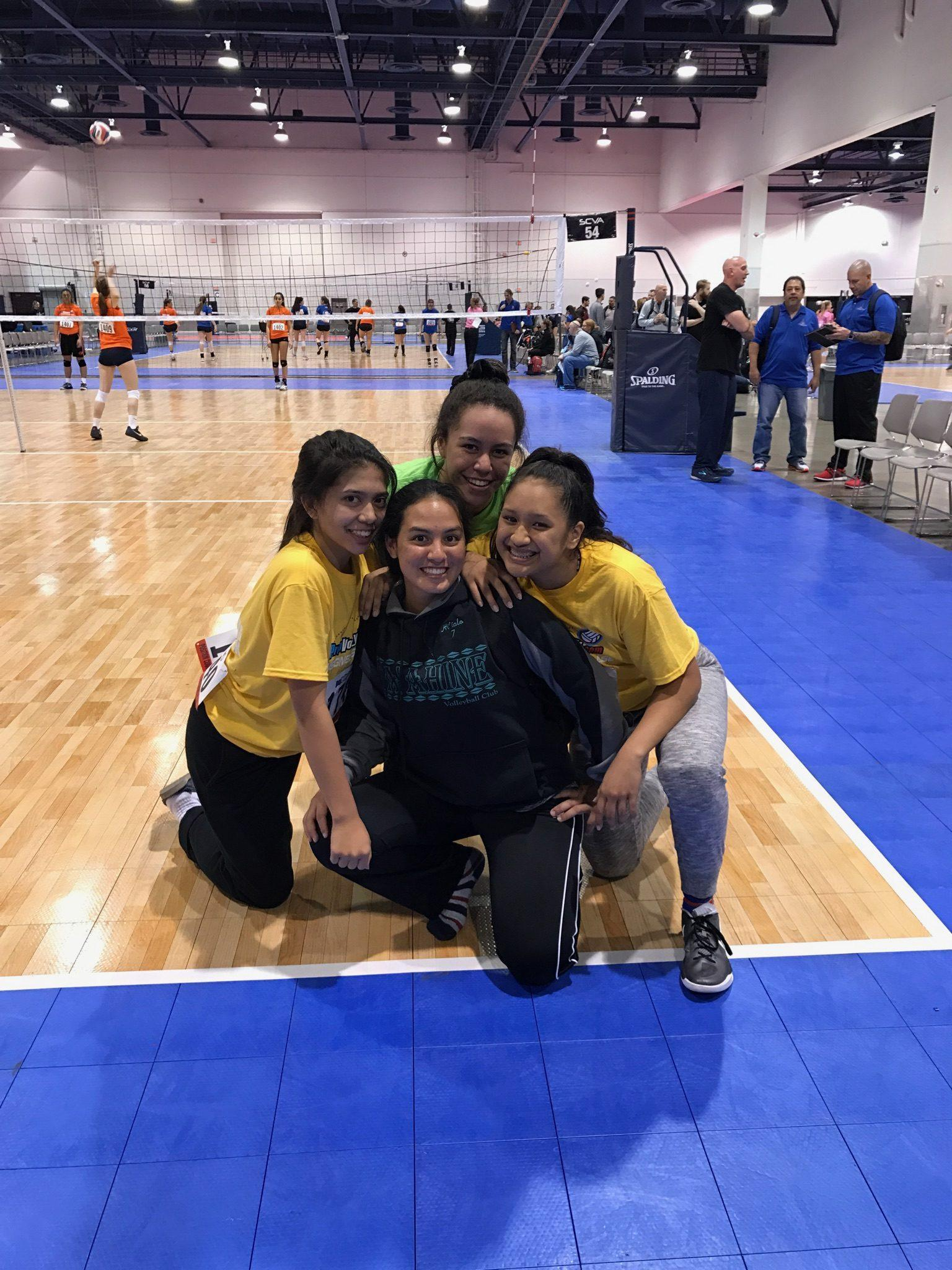 Juniors Chasry Lum-King, Angelyne Loiselle, Hi'ialo Apo and Tate Lutu ready to relax after a long day of games. Photo courtesy of Hi'ialo Apo.