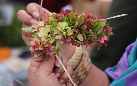 Making haku lei For May Day