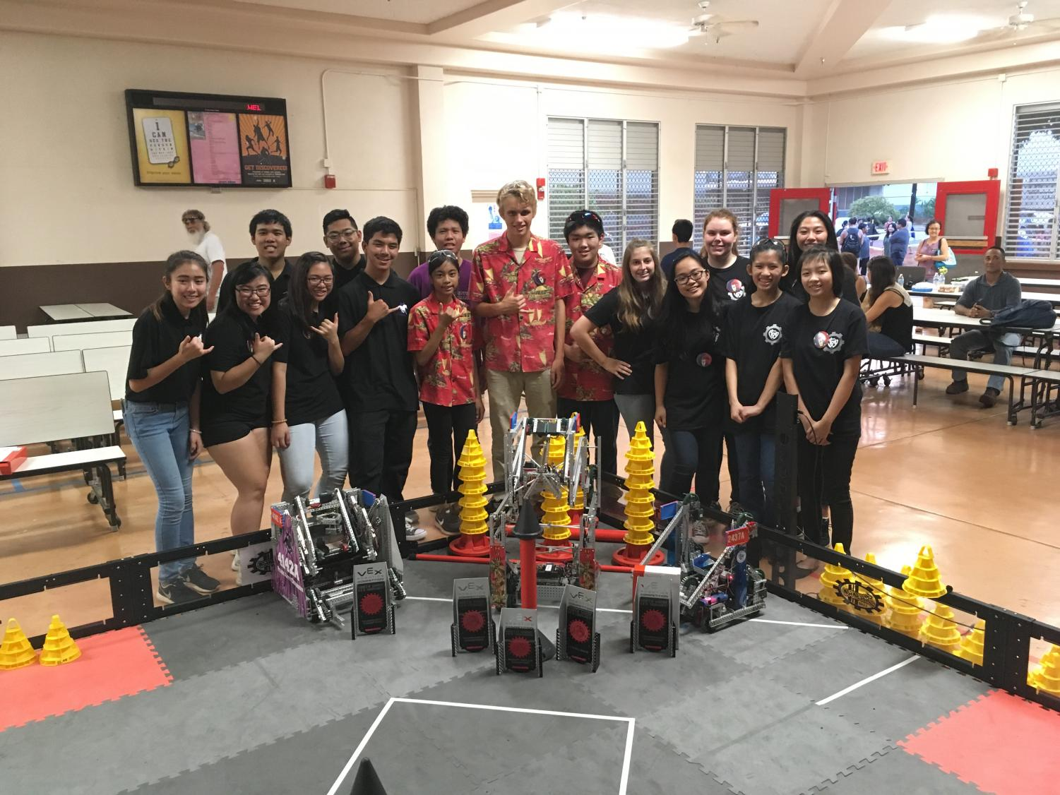 For the North Shore VEX Tournament, Sacred Hearts Academy teamed up with Waialua High School and Pearl City High School.