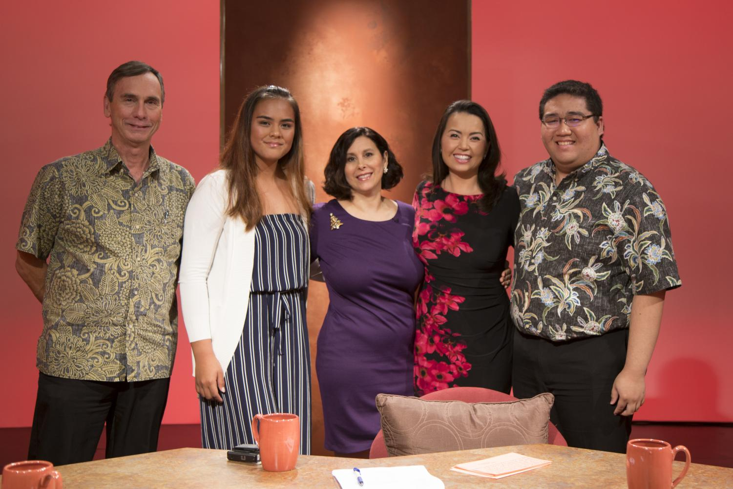 "Journalist Daryl Huff, myself, moderator Beth Ann Kozlovich, journalist Yunji De Nies and University of Hawaii at Manoa student journalist Spencer Oshita participated in a live discussion on PBS Hawaii's ""Insights"" program. We talked about the top news stories of the year, including net neutrality and homelessness. Photos courtesy of PBS Hawaii."