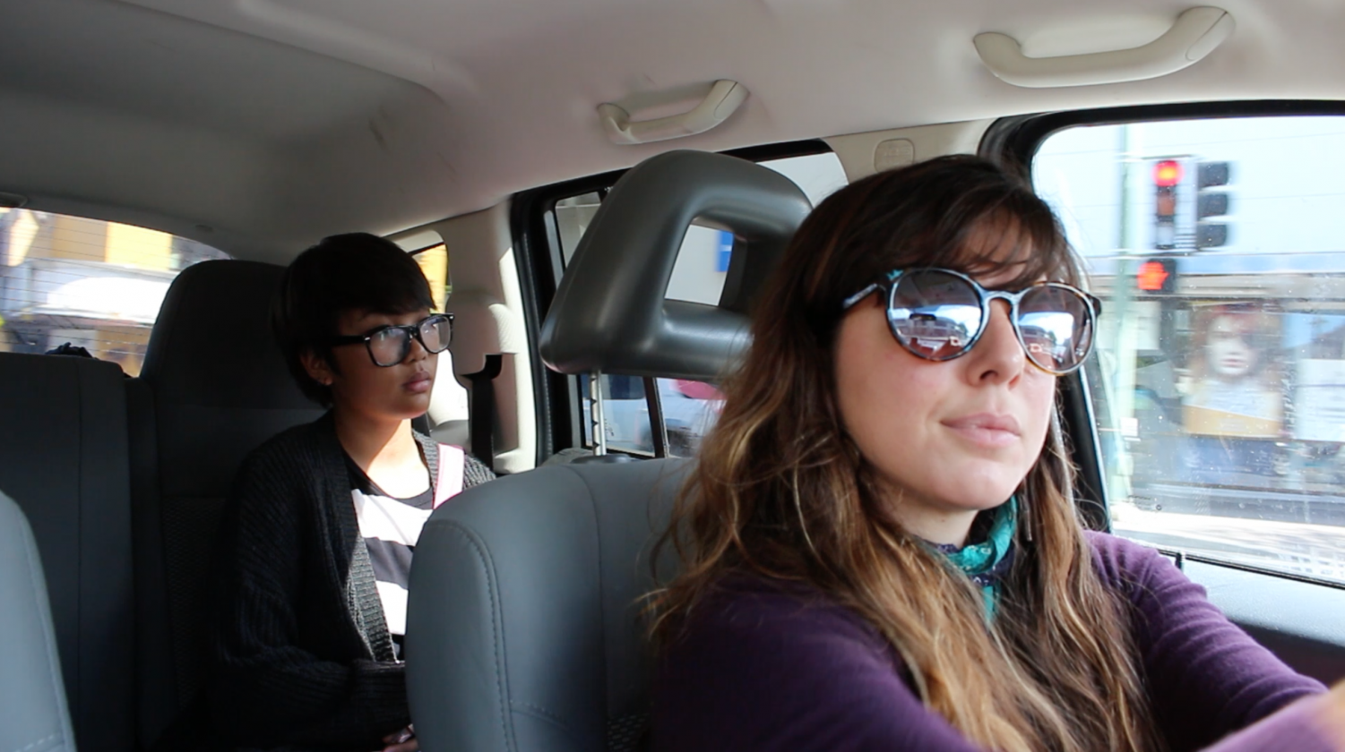 High school senior Grace Francisco (back) frequently uses rideshare service Uber to commute to work and school despite a policy prohibiting minors from riding alone. Driver Bernadette Rosano (front) says there should be a rideshare program for minors. Photo by Shelby Mattos.