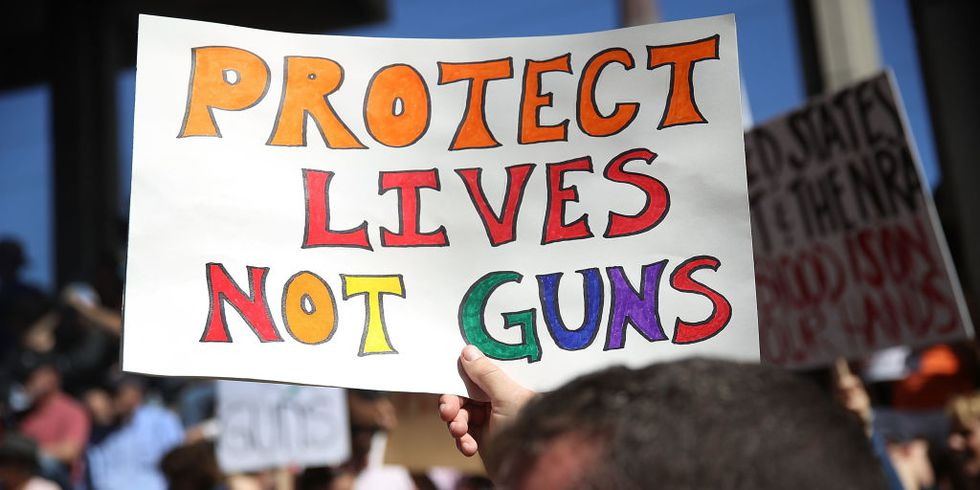 At the Washington D.C. March for Our Lives protest, marchers created posters supporting gun control. Photo courtesy of Getty Images.