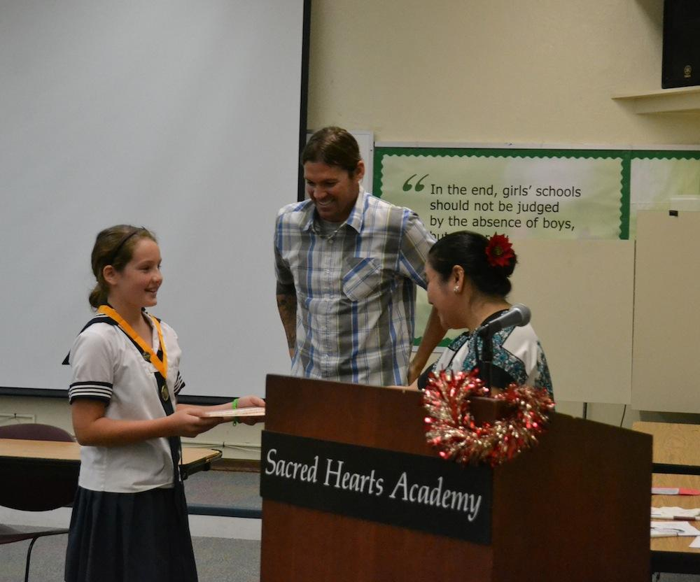 Sixth and seventh graders participated in the school Geography Bee with Lucy Gentry (above) coming out on top. She will compete in the next round in April.