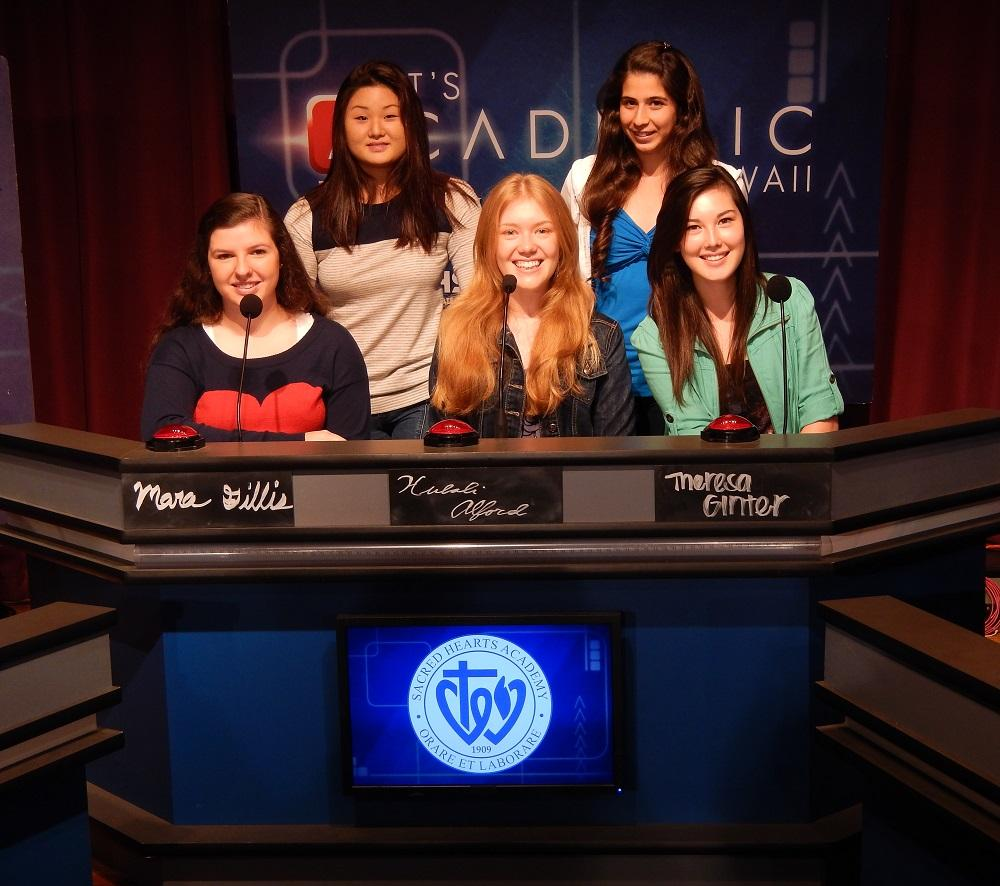 The Academy team of Mara Gillis, Annie Oh, Hulali Alford, Natalie Hajinelian and Theresa Ginter competed on KFVE's