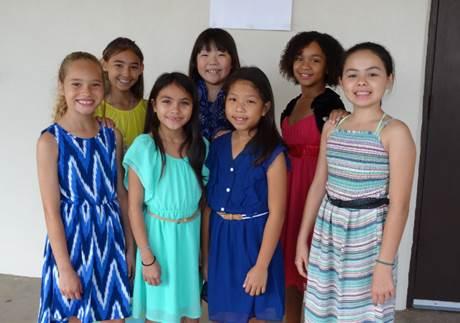 Back row from left to right: Zandrina Cambra, Ayla Hakikawa, Ceana Fitzgerald Front row from left to right: Ariana Dowda-Gates, Andromeda Tong, Lauren Lee, Millie Rice. Photo credit: Laurel Oshiro.