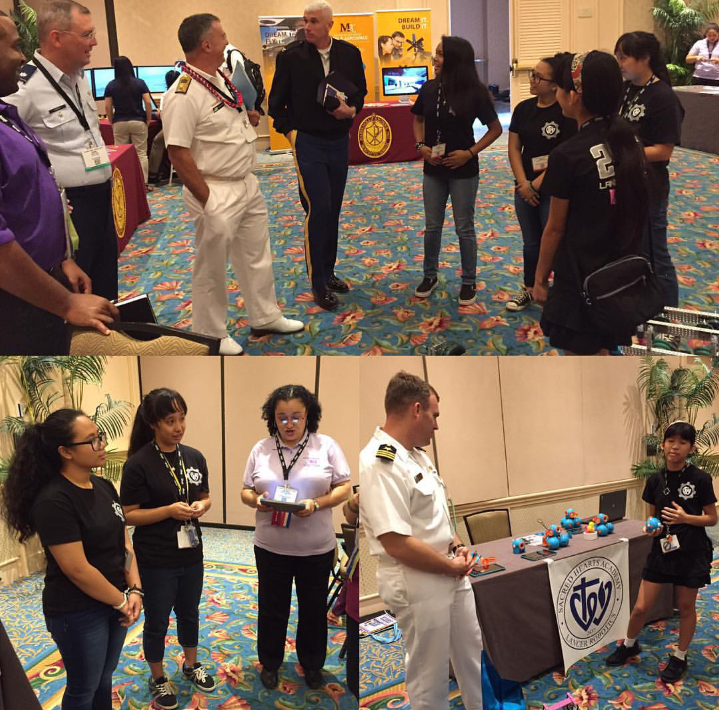Photo credit: Peter Park  Robotics students spoke to military leaders at the TechNet Asia convention.