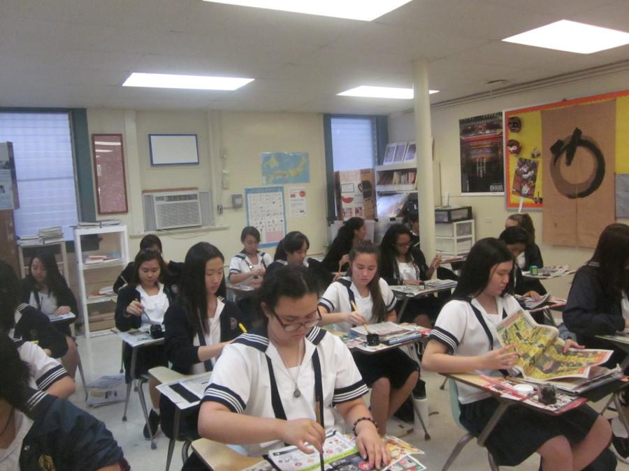 Japanese+language+students+practiced+calligraphy+to+welcome+the+new+year%2C+a+tradition+among+younger+students+in+Japan.