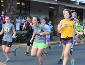 Runners start the annual LIFE walk before students in grades 7-12 walk to Palolo Park. The walk takes place immediately following the LIFE mass and features a morning of games, snacks and lunch, provided by Student Council.