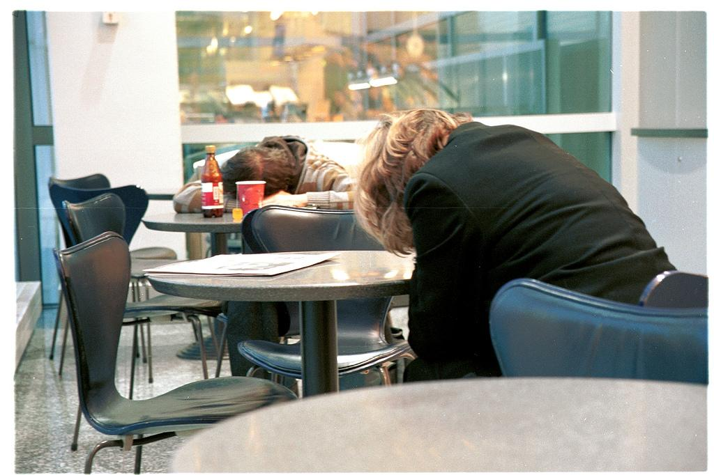Travelers suffering from jet lag.