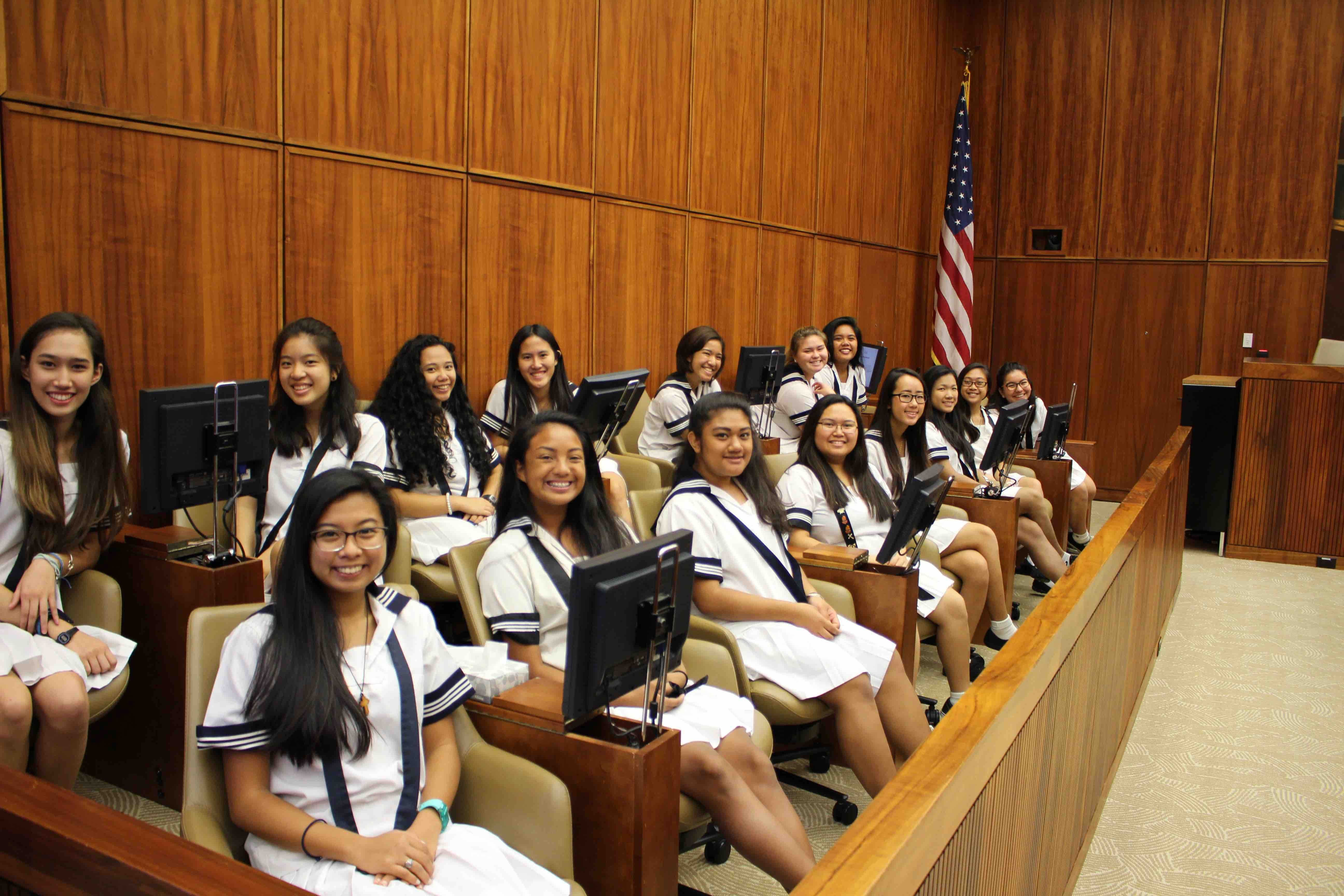 Myself and classmates participating in the mock trial as jurors.