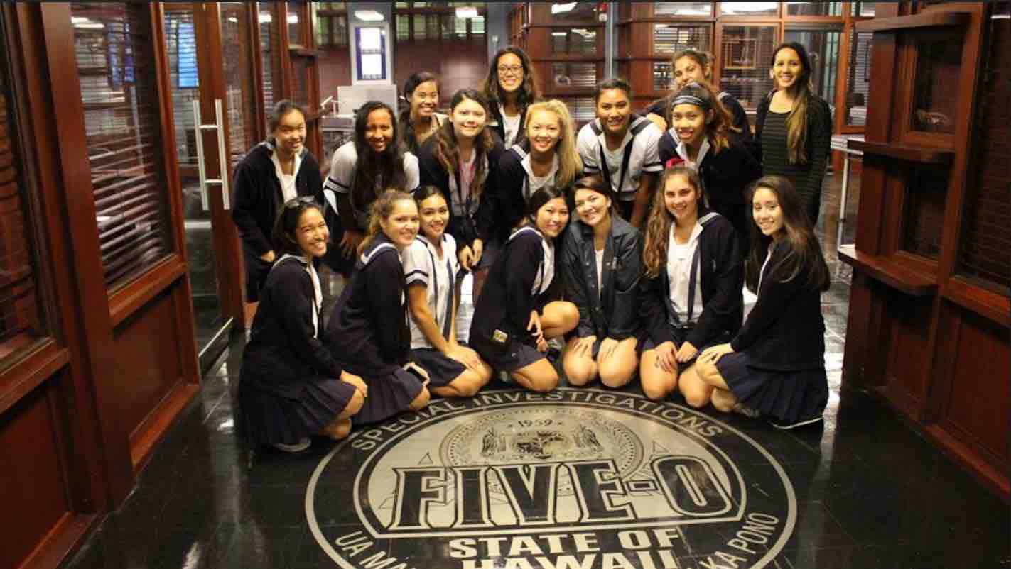 """Video Productions/News Broadcast students on the set of """"Hawaii Five-0"""" during an exclusive school tour last week."""