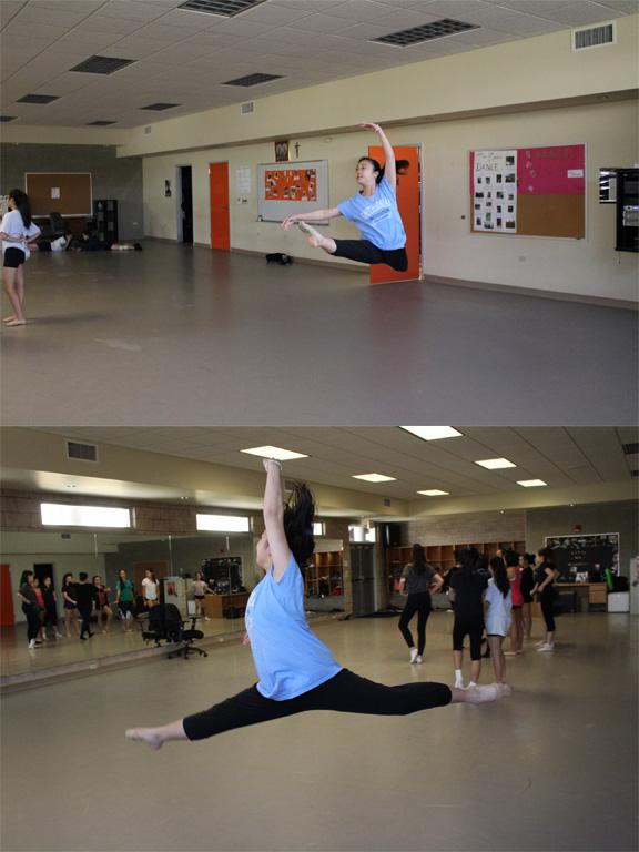 Junior+Risa+Ishii+practicing+her+jumps+during+dance+class.+Photo+by+Rebecca+Meyer.