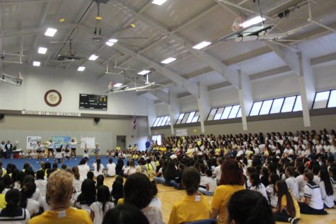 The assembly was filled with students, teachers, staff and sisters who were celebrating the Academy's Founder's Day.