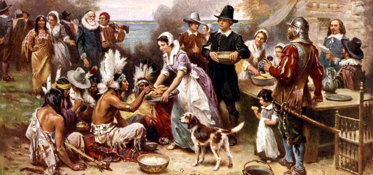 The first Thanksgiving celebrated between the Americans and Indians. Photo courtesy of Calendarlabs.