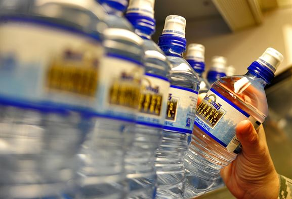 Bottles of water line grocery store shelves. Photo courtesy of Whiteman Air Force Base.