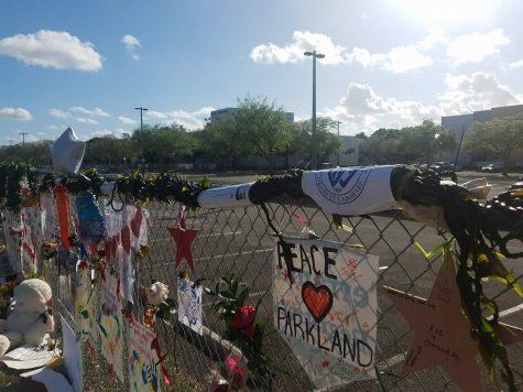 Momentos placed near the campus of Stoneman Douglas High School.