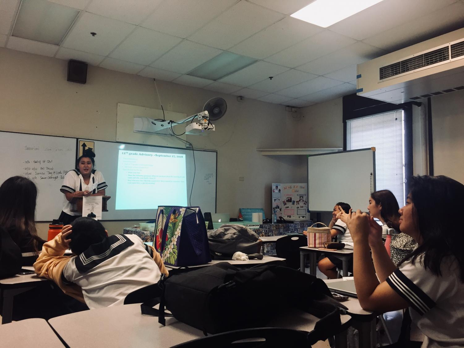 Seniors taking part in advisory and listening to their peers share their ideas on how they want their division to be remembered as. Photo courtesy of Ragelle Lumapas.