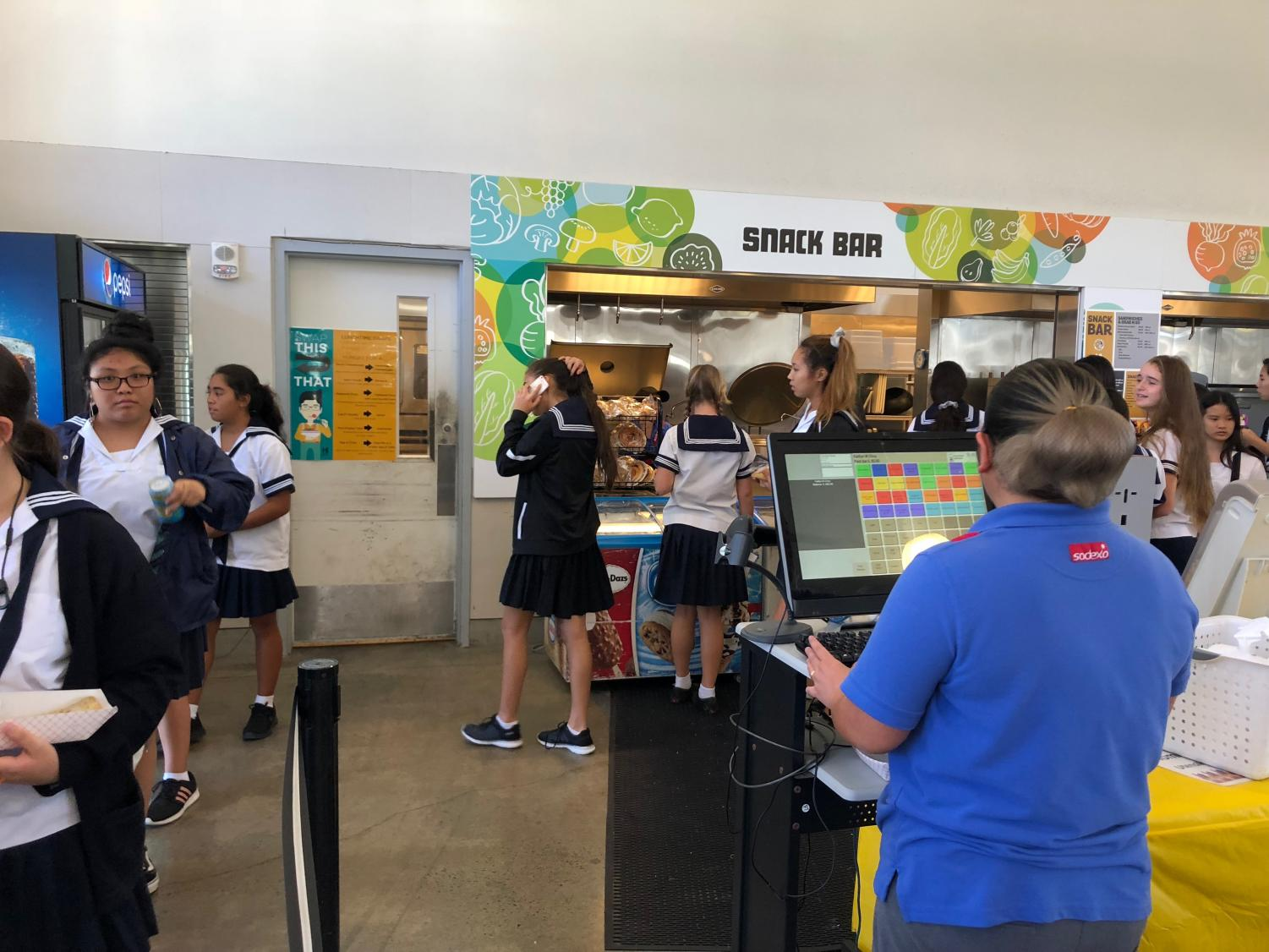 Students buy food at the Academy's Student Center, where several menu items have been added this year. Photo by Rebecca Meyer.