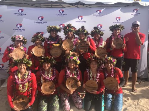 The Kamehameha Canoe Club Junior Women's crew placed second in the junior women's division and 24th out of 65 crews. All photos by Rebecca Meyer.