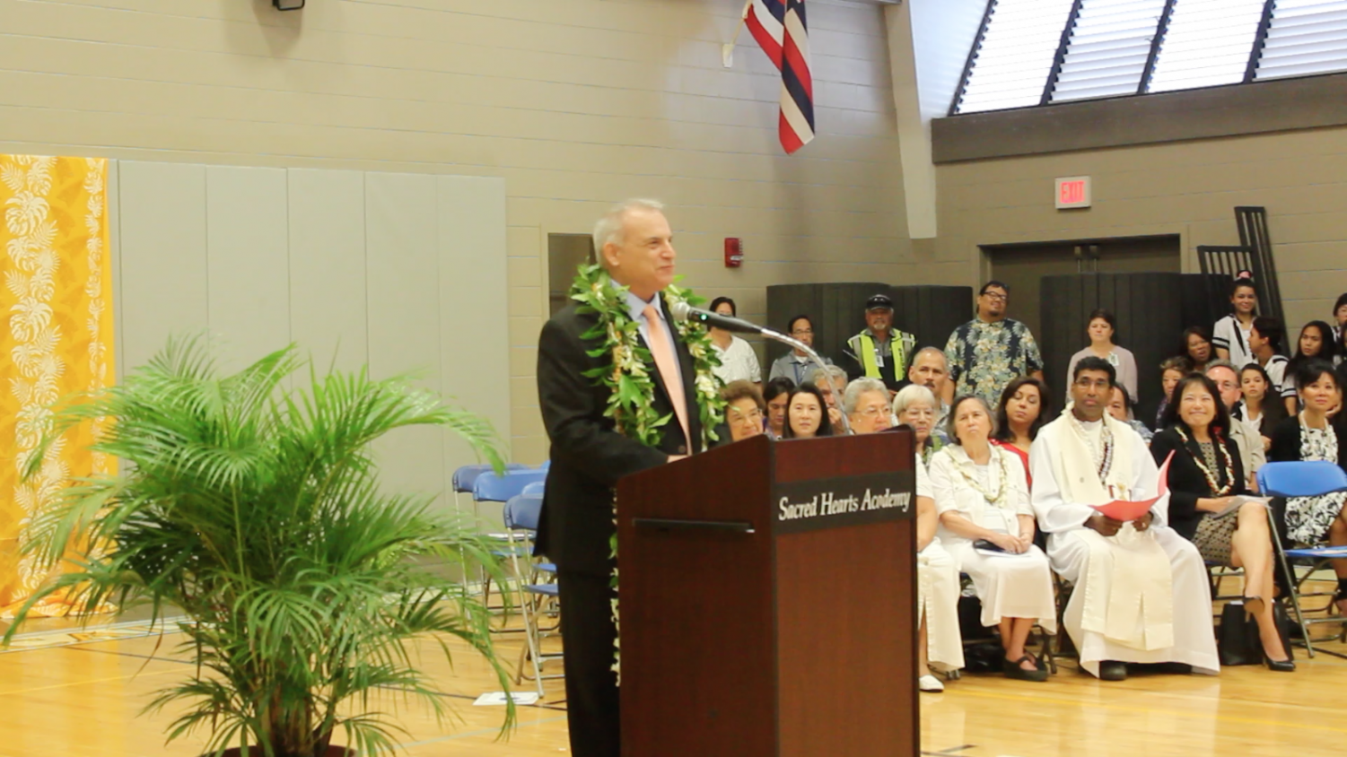 Dr. Scott Schroeder made his official public appearance to Sacred Hearts Academy as the new Head of School following current Head of School, Betty White's retirement in a special morning assembly on Feb. 28 2019. Photo by Rebecca Meyer.