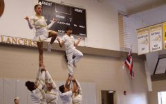 Navigation to Story: Male cheer team hoists over stereotypes